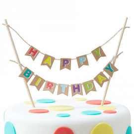 Cake topper guirlande kraft color happy birthday