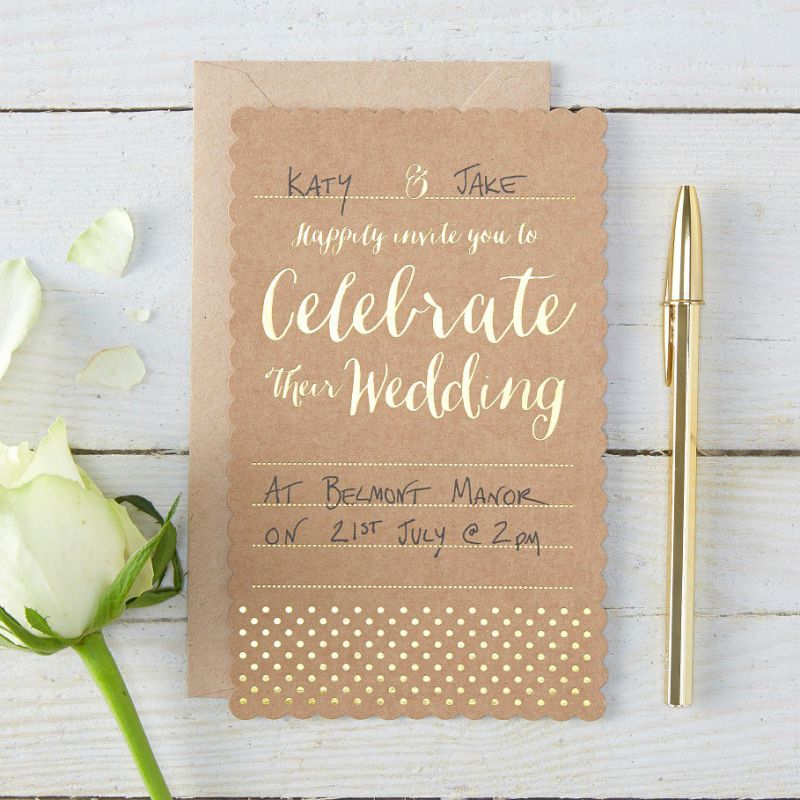 ... mariage > Papeterie mariage > Cartons invitations mariage kraft et or