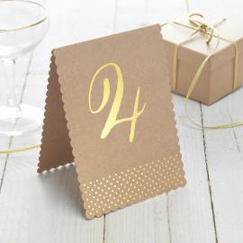 Numéros de table kraft et or - Lot de 12