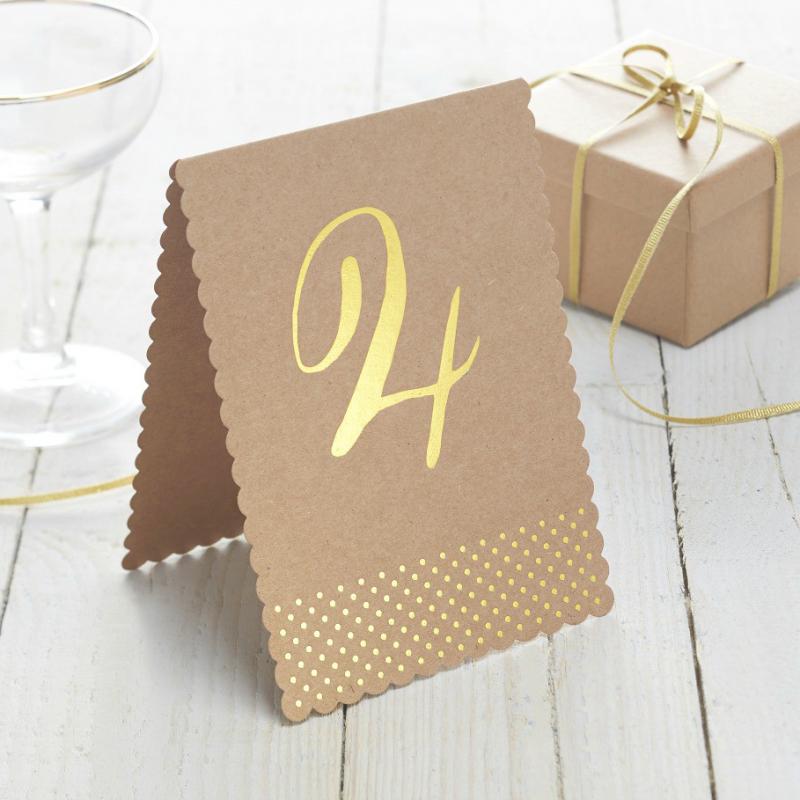 decoration de table mariage num ros de table kraft et or. Black Bedroom Furniture Sets. Home Design Ideas