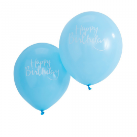 Ballons bleus calligraphie happy birthday - Lot 10