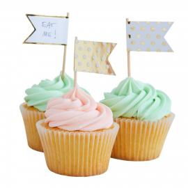 Piques fanions cupcake pois blancs et or - Lot de 10