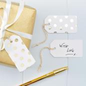 Etiquettes marque-places blanches pois or - Lot 10