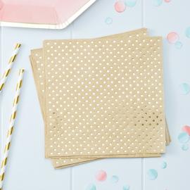 Serviettes papier kraft pois or - Lot de 20