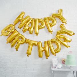 Guirlande de ballons or Happy birthday