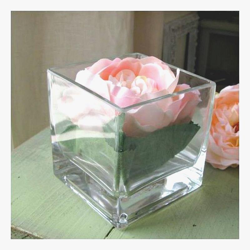 vase verre carr m dium decoration table. Black Bedroom Furniture Sets. Home Design Ideas