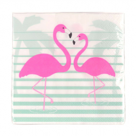 Serviettes papier rayures flamant rose - Lot de 20