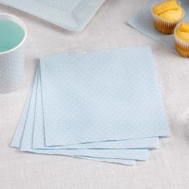 Serviettes papier bleu petits pois blancs - Lot 20