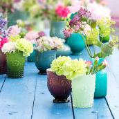Vase verre opaline green