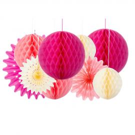 Boules papier rose et blush