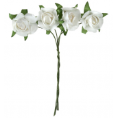 Bouquets petites roses papier blanc
