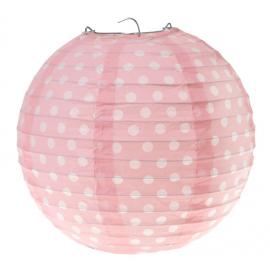 Lanternes papier rose pois blancs