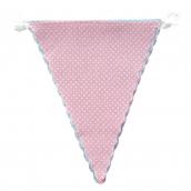 Guirlande fanions tissu rose et bleu à pois - 3,5 m