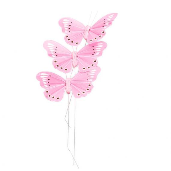 Papillons rose sur tige