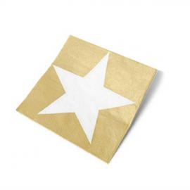 Serviettes papier étoile or