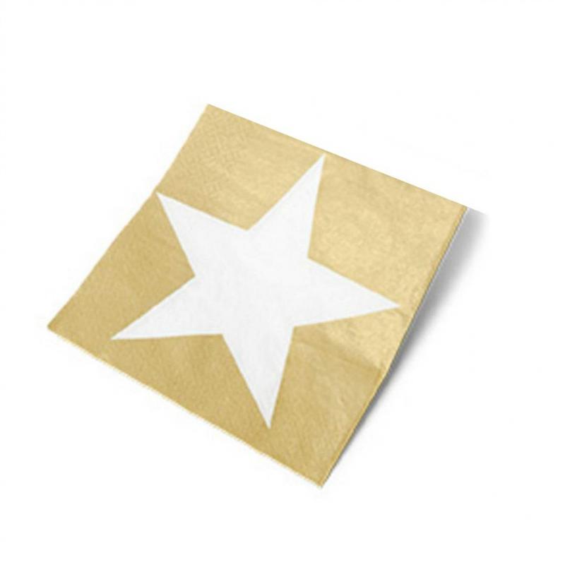 D Coration Anniversaire Serviettes Papier Toile Or