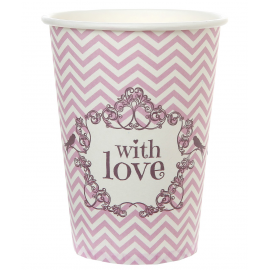 Gobelets chevrons chic love rose
