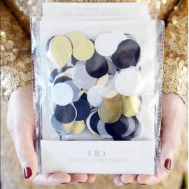 Confettis chic noir,blanc et or