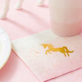 Serviettes papier pastel licorne or