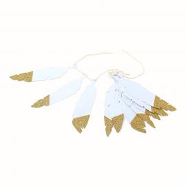 Guirlande fanion mariage et fetes d corer le bonheur - Guirlande plume blanche ...