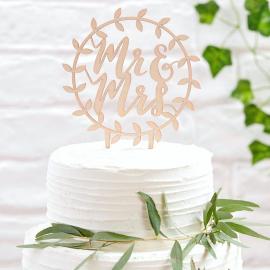 Cake topper bois botanique Mr & Mrs