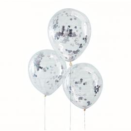 Ballons transparents confettis argent