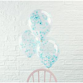 Ballons transparents confettis bleu