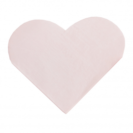 Serviettes papier coeur rose tendre