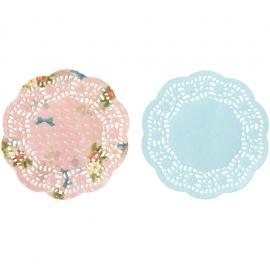 Napperons papier mini fleuris assortis