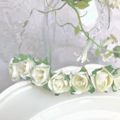 Bouquets petites roses papier ivoire