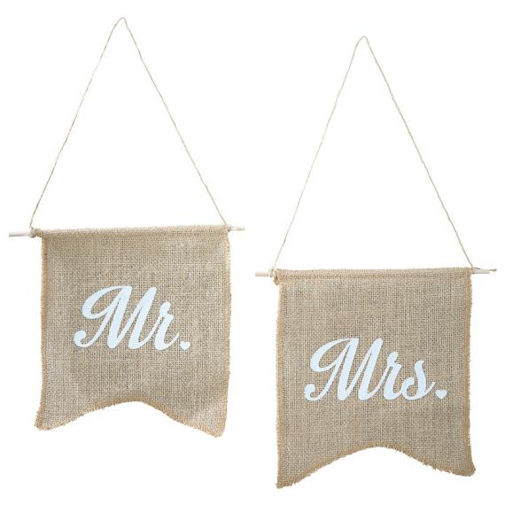 Fanions jute rétro Mr & Mrs - Lot de 2