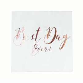 Serviettes mariage Best day or rose