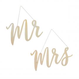 Mr & Mrs bois déco chaises mariage