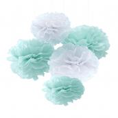 Pompons papier menthe et blanc