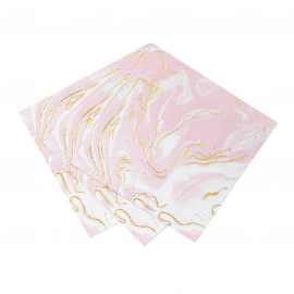 Serviettes cocktail marbré mix rose et or