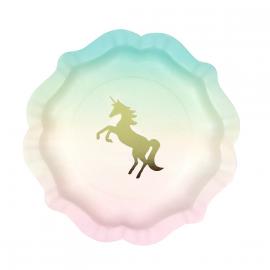 Assiettes pastel licornes or