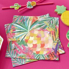 Serviettes papier tropiques chic