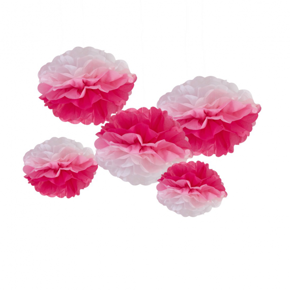 Pompons mix dégradés rose