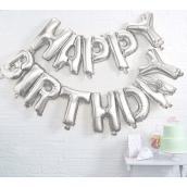 Guirlande ballons mylar argent Happy birthday