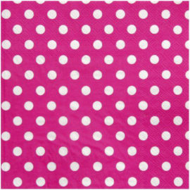 Serviettes pois rose fuschia - 20 serviettes.