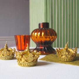 Coffret de 3 bougies couronnes or pailletées