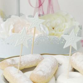 Set décoration gâteau Etoiles blanches - Lot de 8