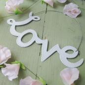 Décoration Love métal blanc
