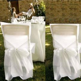 Housses de chaises satin blanches - Lot de 10