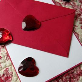 Grand coeur strass rouge - Sachet de 6