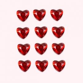 Petit coeur strass rouge - Sachet de 12