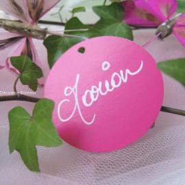 Etiquette marque-place rose ronde - Sachet de 10