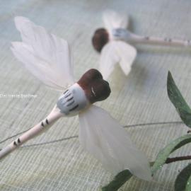 Libellule en plume blanche - Sachet de 6