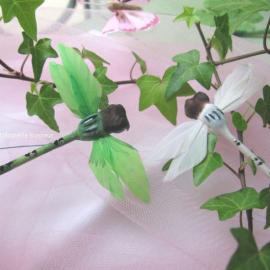 Libellule en plume vert - Sachet de 6