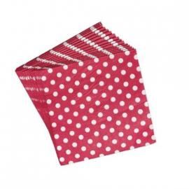 Serviettes papier rouges pois blancs - Lot de 20